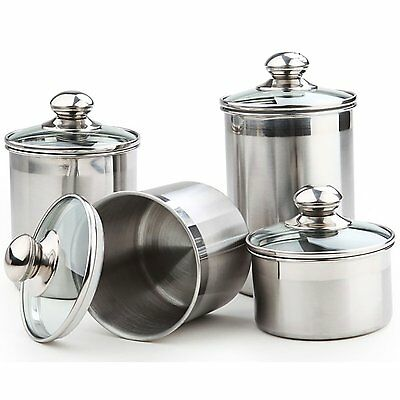 Canisters Sets For The Kitchen Stainless Steel Set Counter Storage Lids Piece 5