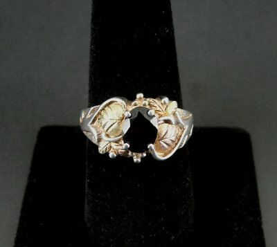 CCO Black Hills Silver Sterling Black Stone 12K Gold Ring Band Size 8 3/4