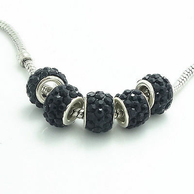 New 1 x Gorgeous black Czech Crystal Round Bead fit  Charm Bracelet fr03