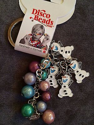 NEW - FROZEN OLAF keyring or bag charm, light relective beads, party bag gift