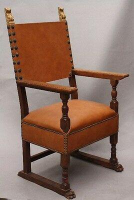 1920s Antique Spanish Revival ArmChair Vintage Carved Wood Leather Chair (9896)
