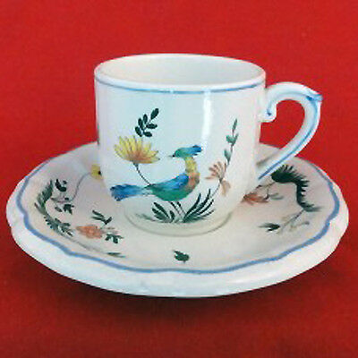 """Gien Oiseaux de Paradis After Dinner Cup & Saucer 2.25"""" tall  NEW NEVER USED"""