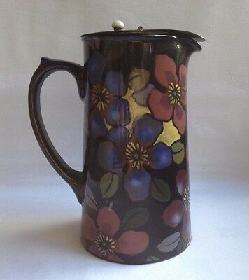 Royal Stanley Ware ~ Jacobean Clematis Pattern Jug With Original Pewter Lid