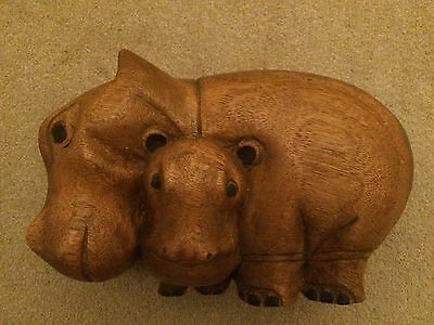 Large Mahogany carved wooden hippopotamus with baby