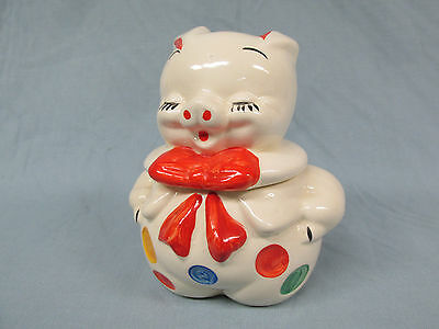 """Polka Dot Pig 6 1/2"""" Covered Grease Jar American Bisque 1940s-1950s Lot R"""