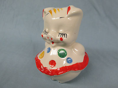 """Polka Dot Pig Small Piggy Bank 5"""" Tall American Bisque 1940s-1950s Lot L"""