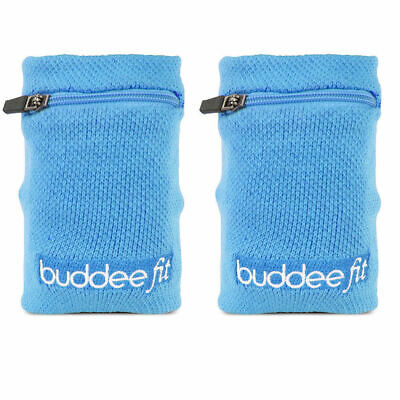2PK Buddee Sports Blue Wristband/Zippered Pocket Jogging/Running Armband/Wallet