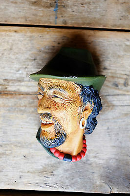 Superb Vintage Bossons Gypsy Man in Red Necklace Chalkware Plaque c1960s