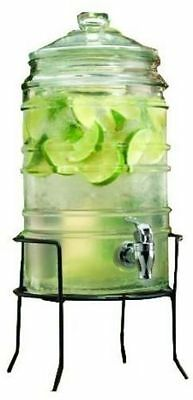 Durable Ribbed Glass Beverage Dispenser with Spigot on Stand 1.5 Gallons