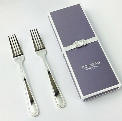 VERA WANG Infinity Eat The Cake Engraved Forks Wedding Gift - Brand New