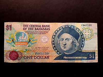 "Billet De One Dollar Des Bahamas De 1974  Type "" Christopher Colombus """