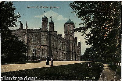 Galway, University College, old coloured postcard, posted 1919