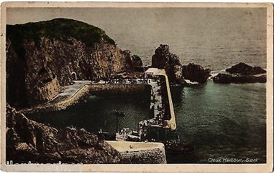 Sark, Creux Harbour, old coloured postcard, unposted