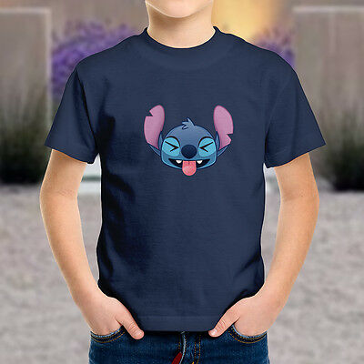 5471a646 Disney Lilo Stitch Funny Cute Laughing Face Emoji Kids Boys Youth Tee T- Shirt