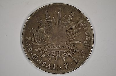 1841-Go Mexico Silver 8 Reales Cap and Rays VG Very Good