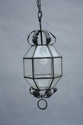 1920s Wrought Iron Pendant Light w Glass Antique Spanish Revival Tudor (9878)