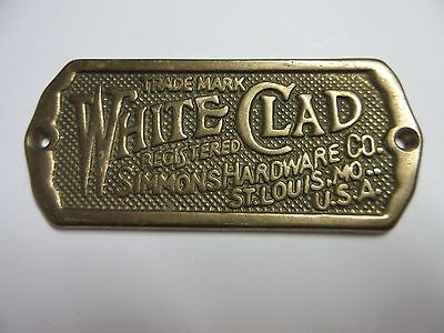White Clad Simmons Hardware Solid Brass Ice Box Plate Tag Reproduction