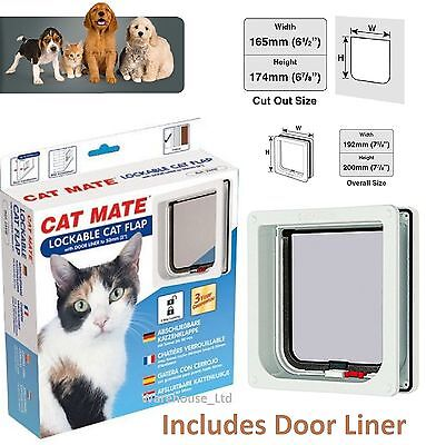 Pet Mate 2 Way Locking Door Flap + Liner White Brown Kitten Cat Puppy 234W 234B