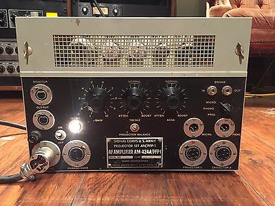 Vintage 1952 Signal Corps U.S. Army AM-424A / PFP-1 Tube Amplifier Projector Set