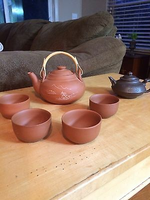 Chinese Yixing Clay Tea Pots And Tea Cups, (6) Pieces