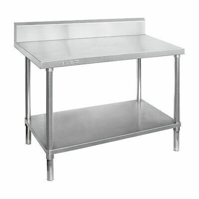 Prep Bench w Undershelf & Splashback Full Stainless Steel 1500x700x900mm Kitchen