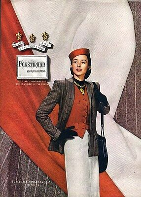 FORSTMANN Fashion Page Ad 1946 Sophisticated Woman's Suit with Red Vest & Hat