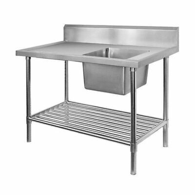 Sink Right Single Bowl Bench 1500x600x900mm Pot Shelf Full Stainless Commercial