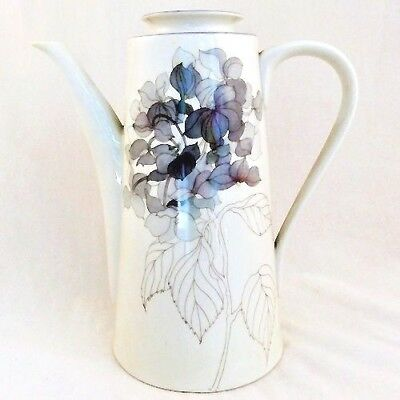 "Hydrangea Block Coffee Pot 8.5"" tall NEW NEVER USED Designed by Goetzer Portugal"