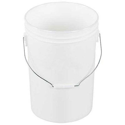 Vestil PAIL-6-PWS, 6 Gallon Open Head Plastic Pail with Steel Handle - White