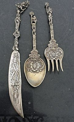 Antique Montagnani Italy Ornate Silver Serving Set Cutlery Crests