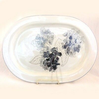 "Hydrangea Block dinnerware Oval Platter 15.5"" NEW NEVER USED Goetzer Portugal"