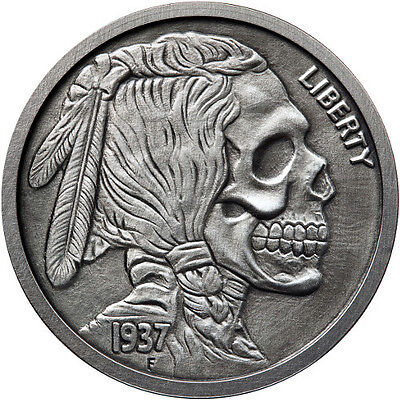 United Snakes Series - Indian Skull 5 oz .999 Silver Antiqued Finish Round Coin