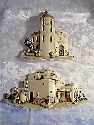Pair of Burwood Products Homco church mission adobe southwestern wall plaques