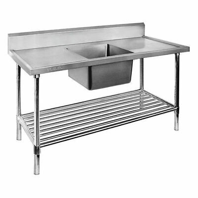 Sink, Centre Single Bowl with Pot Shelf, Full Stainless Steel, 1800x700x900mm
