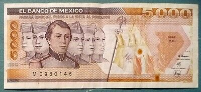 MEXICO 5000 5 000 PESO NOTE , P 88 c,  issued 28.03. 1989