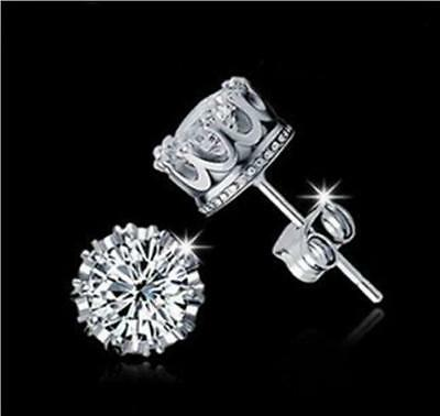 8mm 925 Sterling Silver CZ Crown Stud Earrings Round Crystal Cubic Zirconia UK