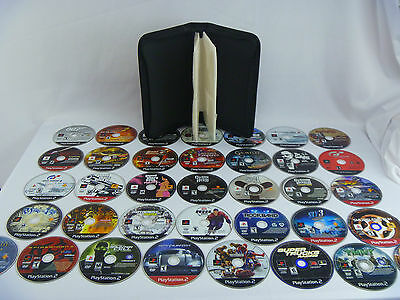 PS2 Playstation 2 Game Lot of 36 discs + Carry Case - Tested & Working