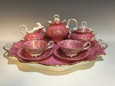 Antique Cauldon/Brown Westhead & Moore Pink & Gold Floral Tea Set w/Tray