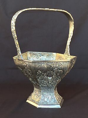 Antique Derby Silverplate Large Six Sided Basket Silver Plate  Victorian scenes