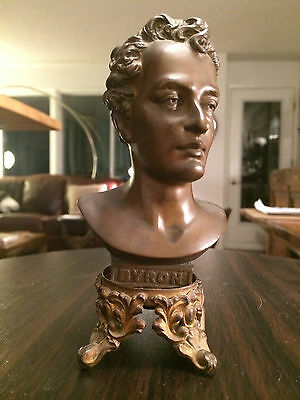 LORD BYRON BRONZE BUST English Poet Iron Base Statue Don Juan Hans Muller Style