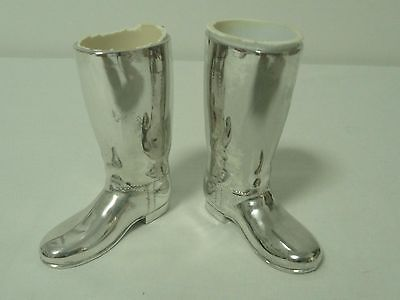 Pair vintage silver plate riding boots