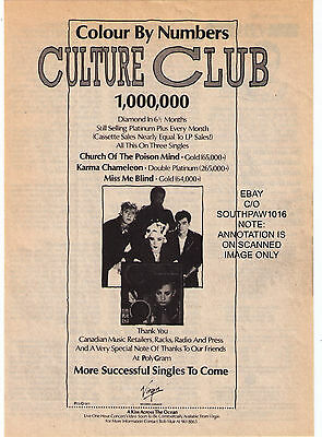 """1884 Cutlure Club """"Colour By Numbers"""" Album Canadian Trade Print Advertisement"""