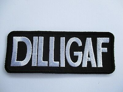DILLIGAF White and Black embroidered Patch Sew/Iron Rider biker Motorcycle vest