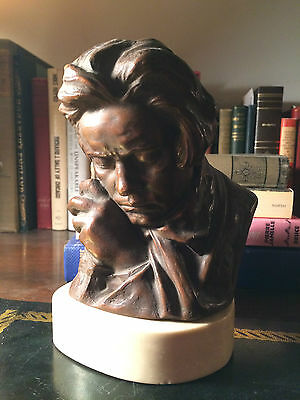 VINTAGE LUDWIG BEETHOVEN BUST Plaster Bronze Finish SIGNED MASSEAU Statue Marble