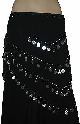 Pack of 12 Silver Coins Decorated Belly Dance Belt Scarves