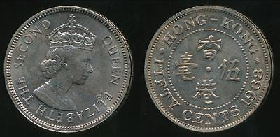 Hong Kong, British Colony, 1968 Fifty Cents, 50c, Elizabeth II - Uncirculated
