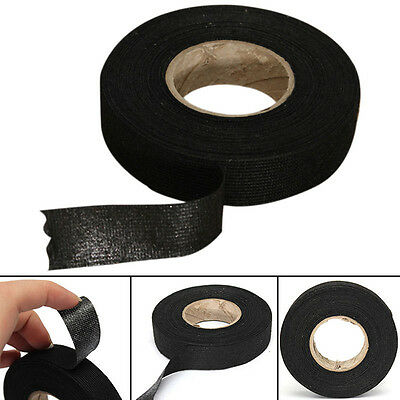 19mmX15m Black Wiring Loom Harness Adhesive Cloth Fabric Tape Cable Loom Tape