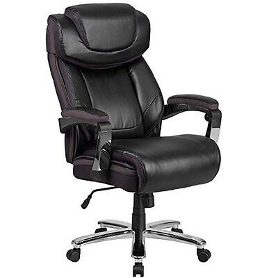 500 Lb. Capacity Big & Tall Black Leather Executive Swivel Office Chair NEW