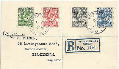 Falkland Is 1929  Reg Cover To Birmingham Franked By 4 Whale & Penguin Stamps