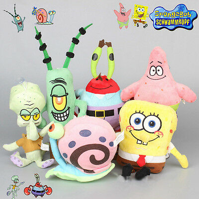 6PCS SpongeBob SquarePants Patrick Star Squidward Tentacles Plush Soft Toys Doll
